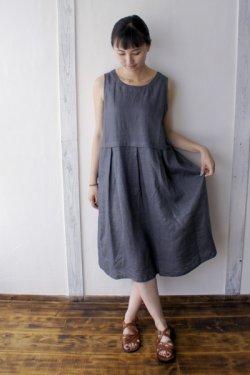 画像3: SALE30%OFF【armoire*】リネン100% ボックスプリーツノースリーブワンピース